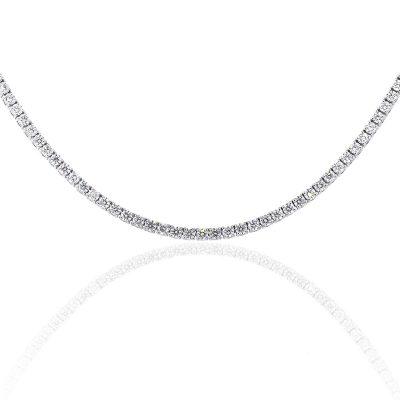 18k White Gold 9.03ctw Round Diamond Tennis Necklace