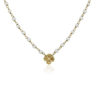 14k Yellow Gold Pearl with Gold Flower Pendant Necklace