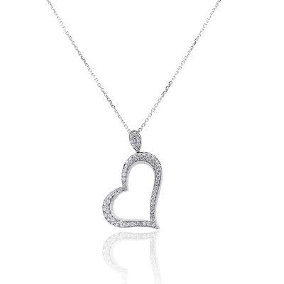 14k White Gold 1.25ctw Diamond Elongated Heart Necklace