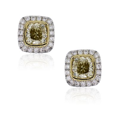 18k White and Yellow Gold 6.04ctw Fancy Yellow and 0.95ctw White Diamond Earrings