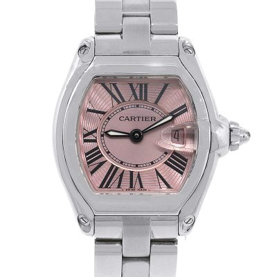 Cartier W62017V3 Stainless Steel Roadster Pink Dial Ladies Watch