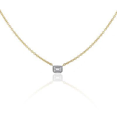 18k Yellow Gold 0.42ctw Emerald Cut Diamond Bezel Set Necklace