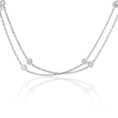 18k White Gold 2.5ctw Diamonds By The Yard Necklace