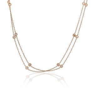 "18k Rose Gold 4ctw Diamonds By The Yard 70"" Necklace"