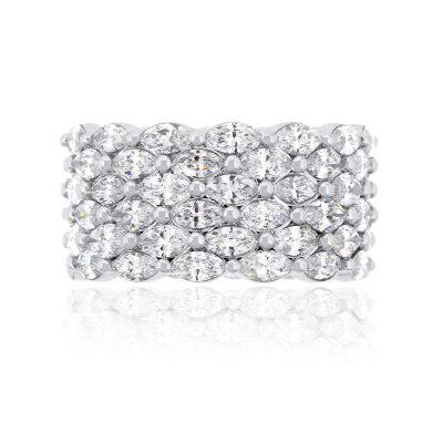 14k White Gold 4.94ctw Marquise Diamond Wide Wedding Band