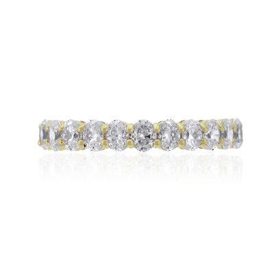 14k Yellow Gold 1.95ctw Oval Diamond Halfway Wedding Band