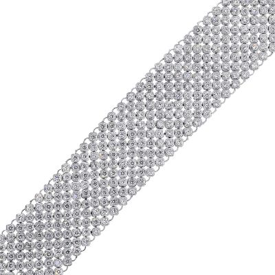 18k White Gold 12.4ctw Round Diamond Wide Bracelet