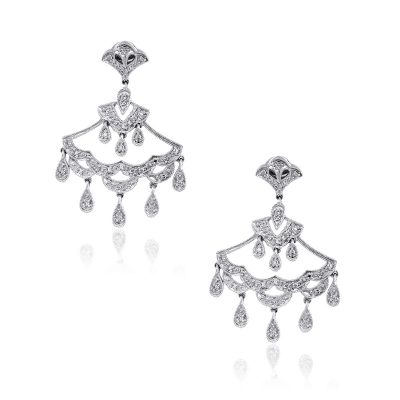 14k White Gold 0.30ctw Diamond Chandelier Earrings