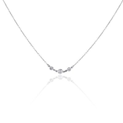14k White Gold 0.60ctw Bezel Set Diamonds By The Yard Necklace