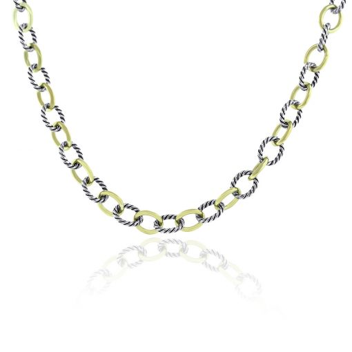 David Yurman Two Tone Medium Oval Link Chain Necklace