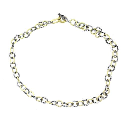 David Yurman Two Tone Medium Oval Link Chain Necklace