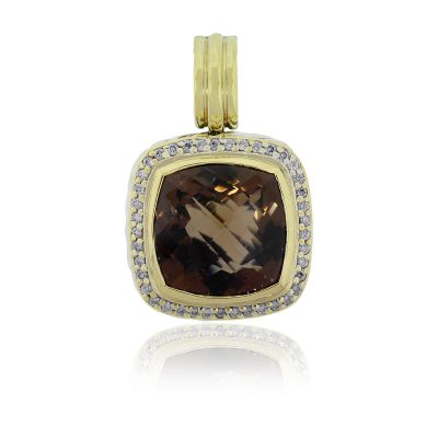 David Yurman Two Tone Smoky Quartz & Diamond Pendant