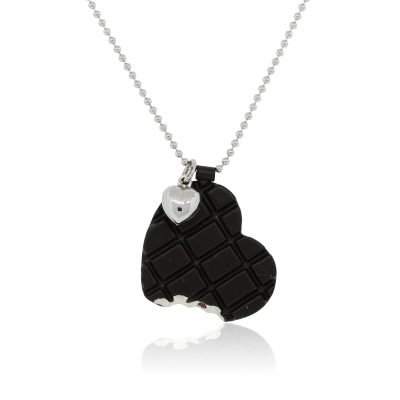 Roberto Coin Sterling Silver Chocolate Heart Bite Necklace