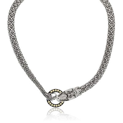 John Hardy 18k Yellow Gold and Sterling Silver Naga Dragon Choker Necklace