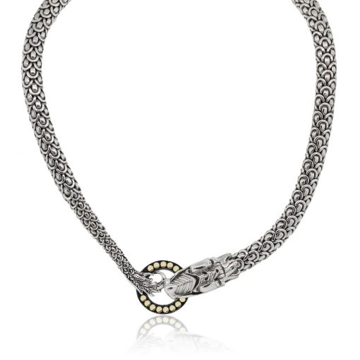 John Hardy 18k Yellow Gold and Sterling Silver Naga Dragon Choker Necklace