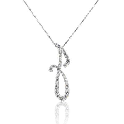 """Roberto Coin, 18k, White Gold, 1.25ctw, Diamond, """"J"""", Initial, Necklace"""