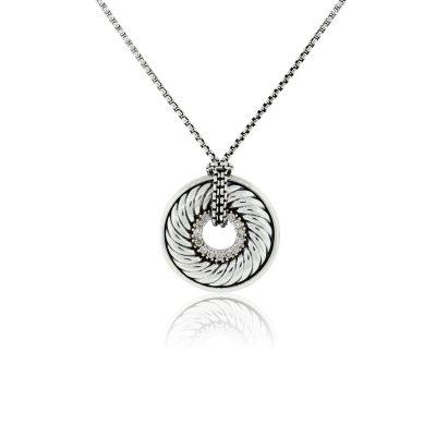 David Yurman Sterling Silver 0.22ctw Diamond Disc Pendant On Chain Necklace