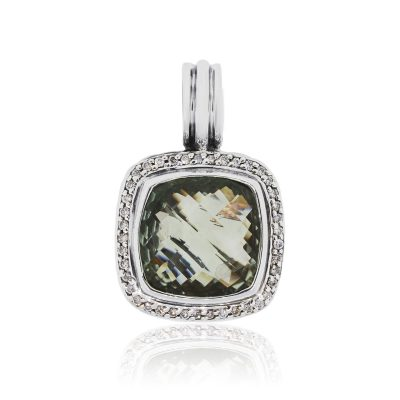 David Yurman Sterling Silver 0.39ctw Diamond and Prasiolite Albion Pendant