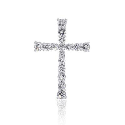 14k White Gold 0.52ctw Round Brilliant Diamond Cross Pendant