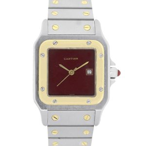 Cartier Santos Galbee 2961 Two Tone Burgundy Dial Watch