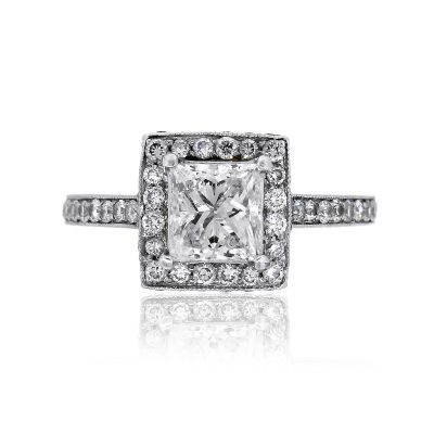 Sophia D Platinum 1.05ct Princess Cut Diamond CE Engagement Ring