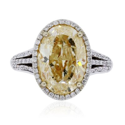 14k White Gold 6.34ct Oval Fancy Yellow Diamond Engagement Ring