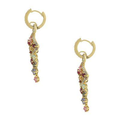 18k Yellow Gold 2ct Multi Color Sapphire & Diamond Earrings