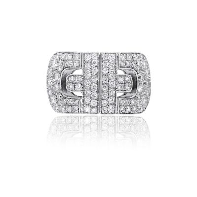 Bvlgari 18k White Gold 0.96ctw Diamond Parentesi Ring