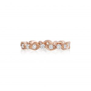 Henri Daussi R37-2HA6 0.30ct Diamond Rose Gold Wedding Band