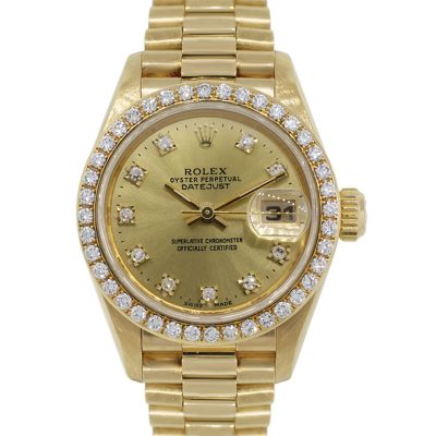 Rolex 69178 Datejust 18k Yellow Gold Diamond Bezel Diamond Dial Ladies Watch