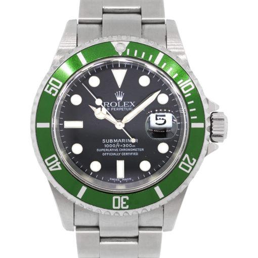 Rolex 16610 Submariner Kermit Black Dial Green Bezel Stainless Steel Watch