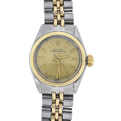 Rolex 6619 Oyster Perpetual Two Tone Champagne Dial Ladies Watch