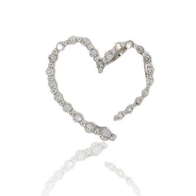 14K White Gold 0.45ctw Round Diamond Heart Style Pendant