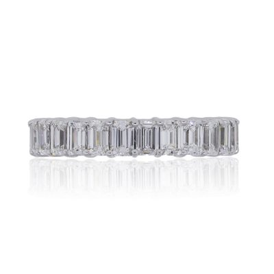 14k White Gold 2.86ctw Emerald Cut Diamond Eternity Band