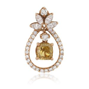 18k Rose Gold 1.01ct Fancy Deep Brownish GIA Cushion Diamond Pendant