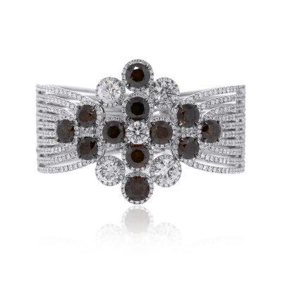 18k White Gold 31.03ctw Round Brilliant Diamond Ladies Cuff Bracelet