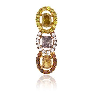 18k Rose Gold 1.24ctw Multi Color GIA Diamond Pendant