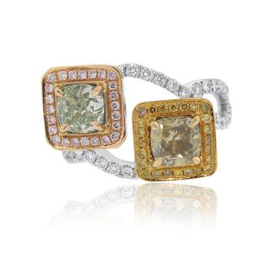 18k White Gold 2.76ctw Multi Color GIA Diamond Ladies Ring