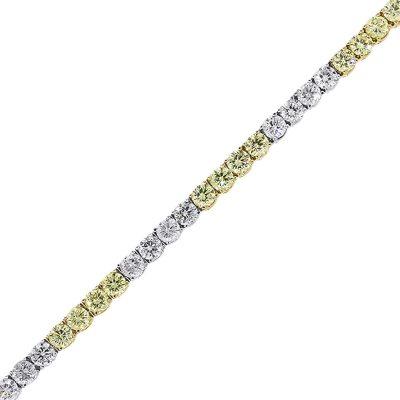 18k Two Tone 9.39ctw White & Fancy Yellow Round Diamond Tennis Bracelet