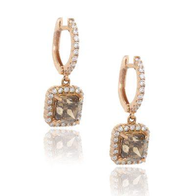 18k Rose Gold 3ctw Cushion Cut GIA Diamond Drop Earrings