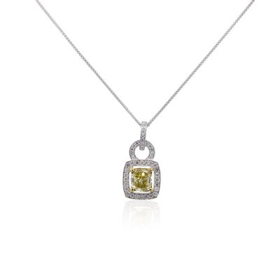 18k White Gold GIA Certified 2.39ct Fancy Yellow Cushion Cut Diamond Pendant Necklace