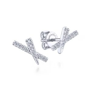 "Gabriel & Co. EG13407W45JJ 14k White Gold 0.15ctw Diamond ""X"" Stud Earrings"