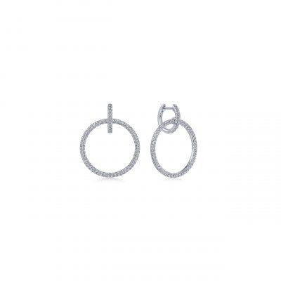 Gabriel & Co. EG13656W45JJ 14k White Gold 0.94ctw Diamond Huggie Earrings