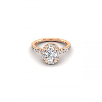 Gabriel & Co. ER14103K44JJ 14k Rose Gold 0.49ctw Diamond Halo Engagement Ring