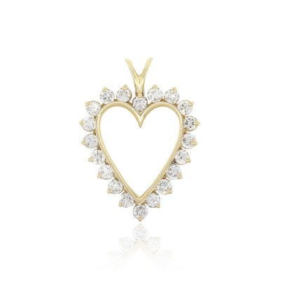 14k Yellow Gold 1ctw Round Diamond Heart Pendant