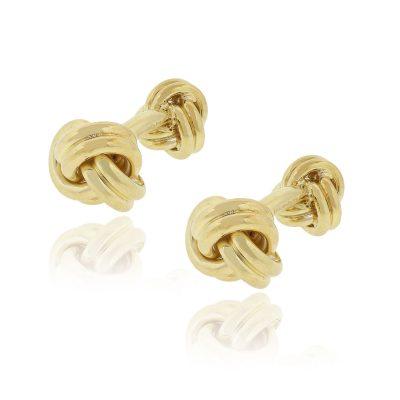 Tiffany & Co. 18k Yellow Gold Knot Mens Cufflinks