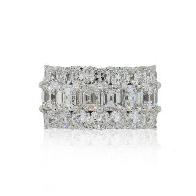 18k White Gold 6.11ctw Diamond Three Row Wide Ring