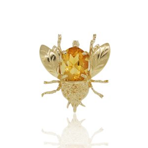14k Yellow Gold Citrine Beetle Brooche Pin