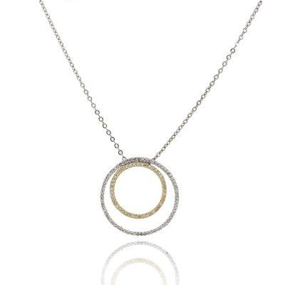 14k Two Tone 1.10ctw Diamond Double Circle Chain Necklace