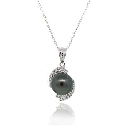 18k White Gold 0.60ctws Diamond Black Pearl Chain Necklace